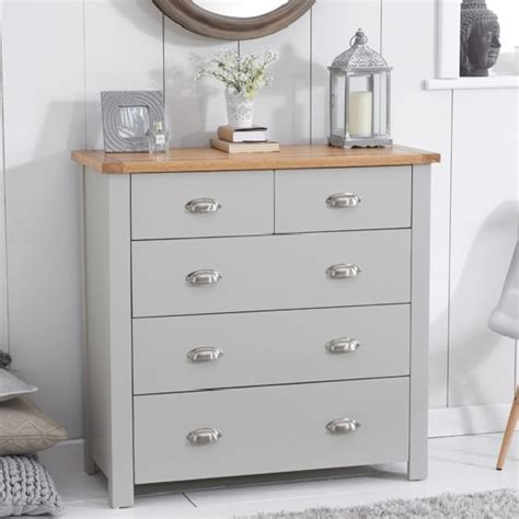 modern chest of drawers grey platina modern chest of drawers in grey and oak with 5