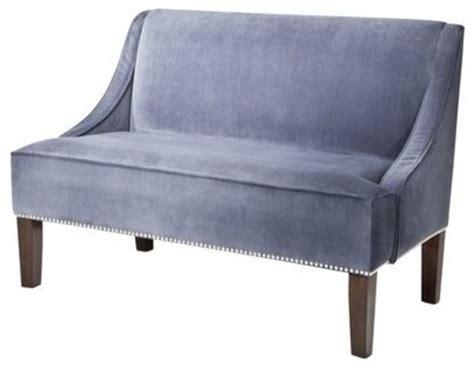 target settee hudson upholstered settee love seat bench slate velvet