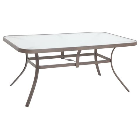 Outdoor Patio Table Tops Shop Garden Treasures Hayden Island Glass Top Sand Rectangle Patio Dining Table At Lowes
