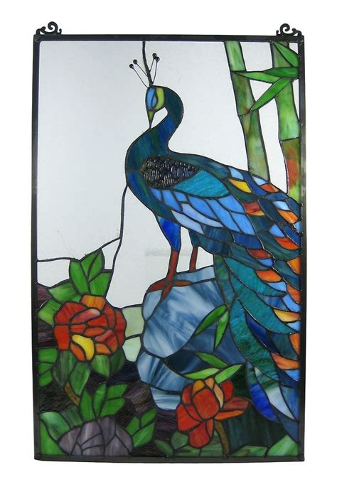peacock stained glass l peacock with tropical flowers stained glass window cling