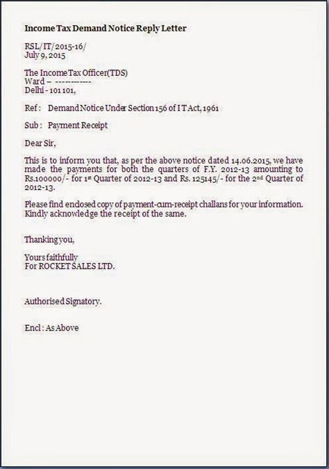Reply To A Payment Reminder Letter tds demand notice reply letter format citehrblog