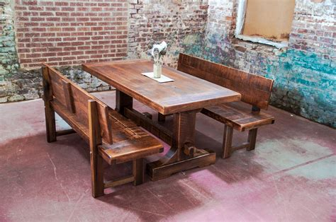 rectangle table with bench furniture custom made rustic wood outdoor picnic bench