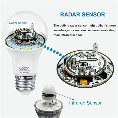 led light bulb with dusk to sensor motion sensor light bulb 5w smart bulb radar dusk to
