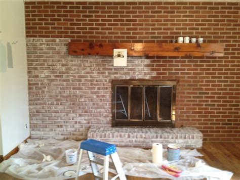 Acid Wash Brick Fireplace by Fireplace Remodel