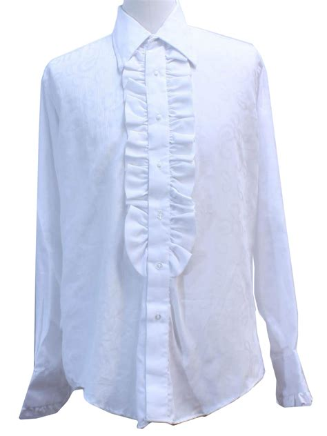 pattern tuxedo shirt 70s vintage after six shirt 70s after six mens white