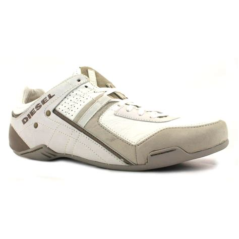 diesel korbin2 mens leather trainers shoes white taupe ebay