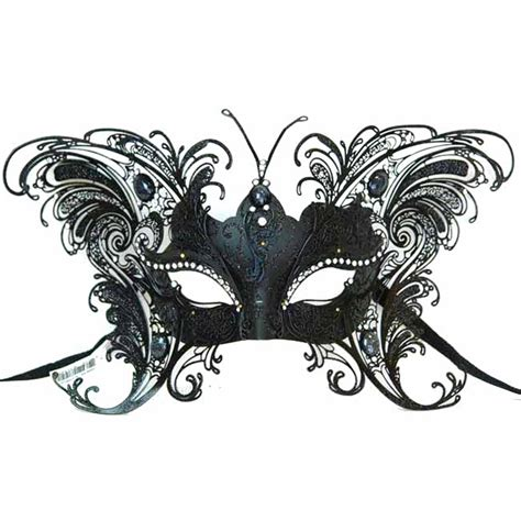 venetian black butterfly metal half mask 299329
