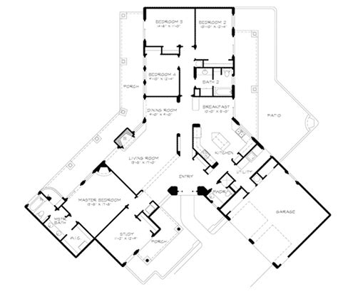 u shaped home with unique floor plan bosswood southwestern style home plan 095d 0044 house plans and more