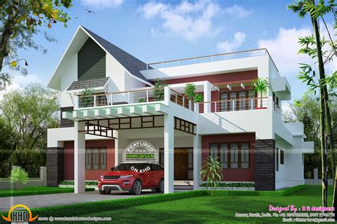 roof attached to side of house modern mix sloping roof elevation kerala home design and floor plans