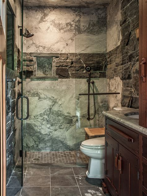 white quartzite shower with heritage valley granite