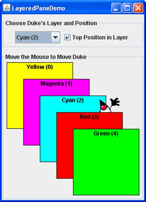 java layout overlapping components how to use layered panes the java tutorials gt creating a