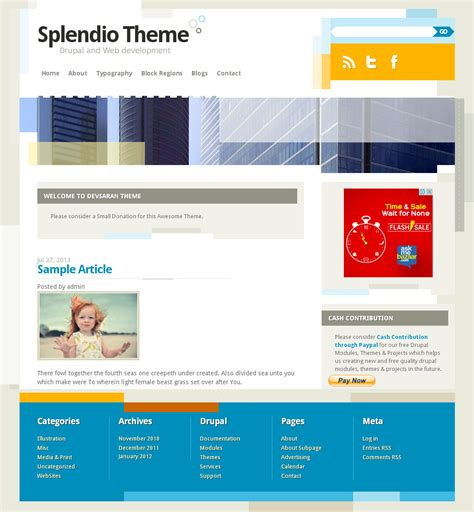 drupal theme info add js splendio free drupal theme freedownload web design