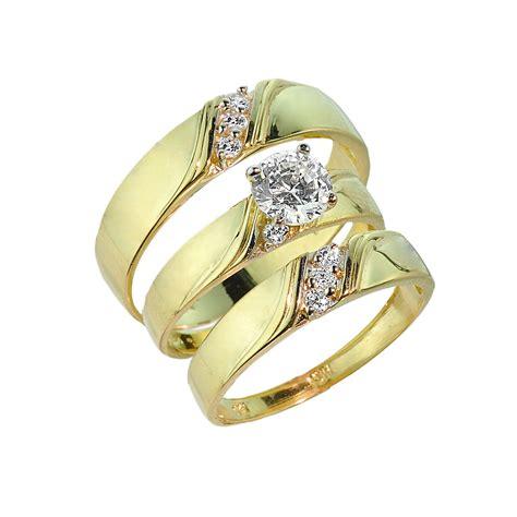 3piece ring 3 gold cz wedding ring set engagement ring