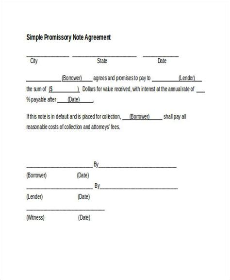 agreement form format sle promissory note agreement forms 8 free documents