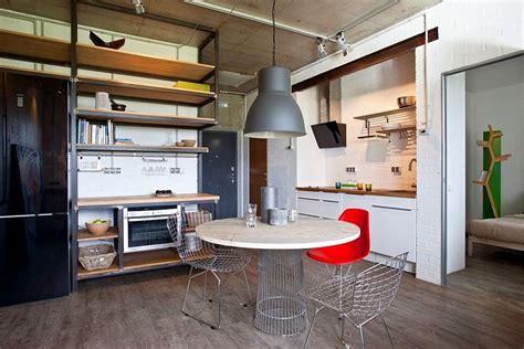 small modern industrial apartment draped  metal wood