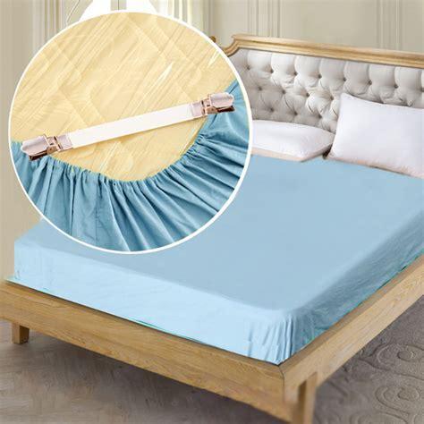 pcs folded  slip elastic bed sheet white grippers fasteners  bed corners ebay