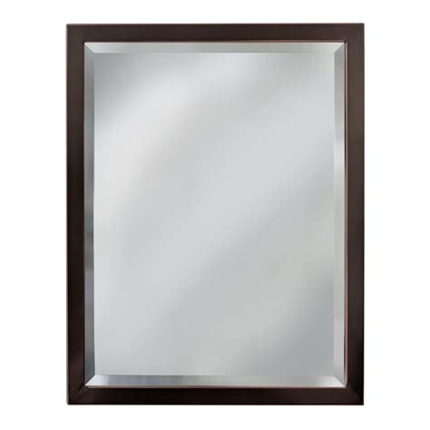 Bathroom Mirror Glass Shop Allen Roth 24 In X 30 In Rubbed Bronze Rectangular Framed Bathroom Mirror At Lowes