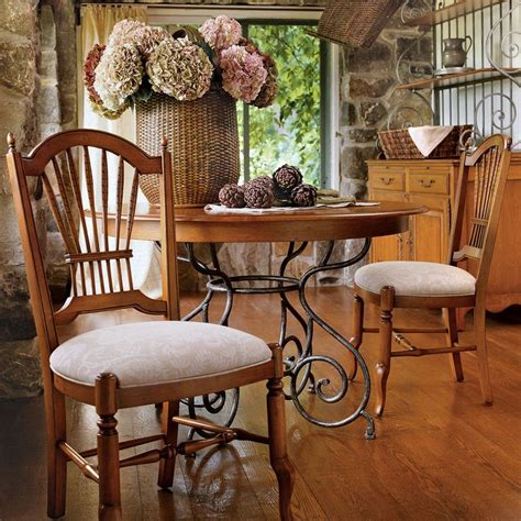 small brittany dining table  wrought iron base ethan allen   sale  ideas