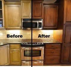 Restaining Kitchen Cabinets Before And After Restaining Kitchen Cabinets Kitchen Cabinet Carrie Kitchen Cabs Oak Cabinets