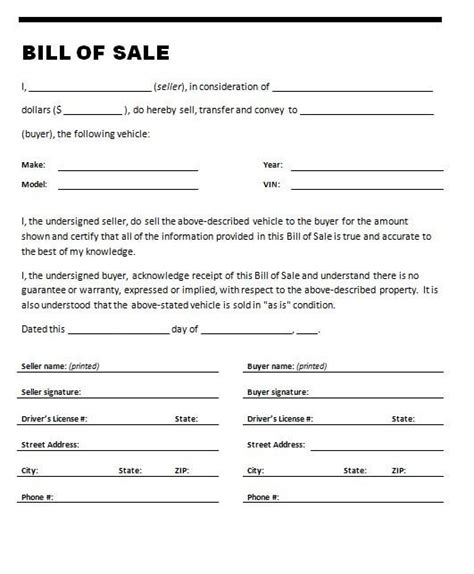bill of sale for used car template used car bill of sale template template idea