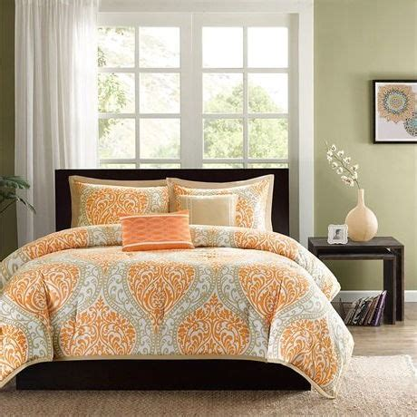 orange full size comforter full size orange damask comforter set with 2 shams and 2