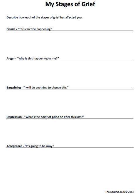 Grief And Loss Worksheets by Quot My Stages Of Grief Quot Worksheet Grief Loss