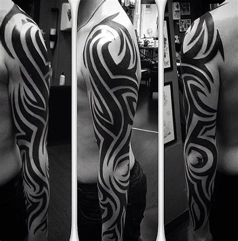 tribal full arm tattoos 90 tribal sleeve tattoos for manly arm design ideas