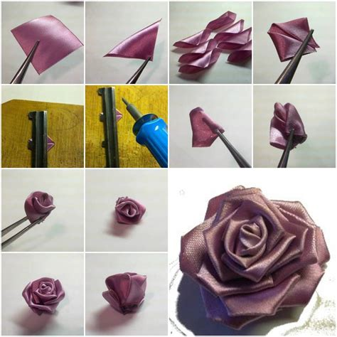 paper ribbon flower tutorial how to make purple ribbon rose step by step diy tutorial