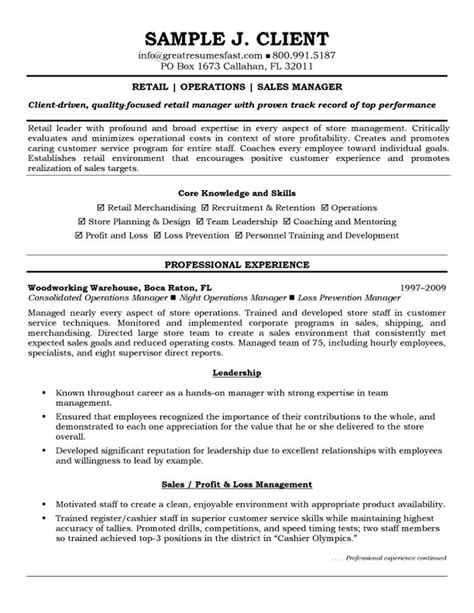 Sle Retail Manager Resume Template Retail Operations And Sales Manager Resume