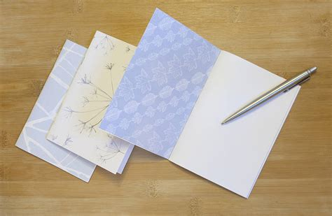Leaf Notebook M set of three blue leaf notebooks by kate moby