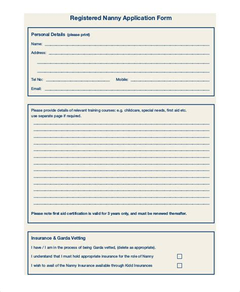 Babysitter Application 9 Babysitter Application Template Babysitter Checklist Great Cover Nanny Application Form Template
