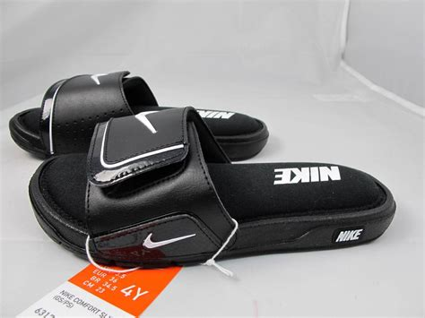 nike comfort slide 2 white new juniors nike comfort slide 2 631719 001 black white ebay