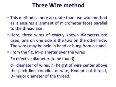 two wire method thread measurements and gear measurement