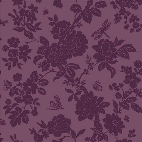 Wallpaper Designs B Q | nina purple floral wallpaper departments diy at b q