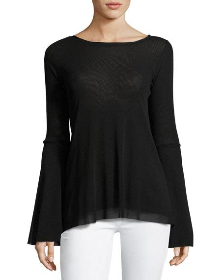 Bell Sleeve Top Original fuzzi bell sleeve tulle top w keyhole back black