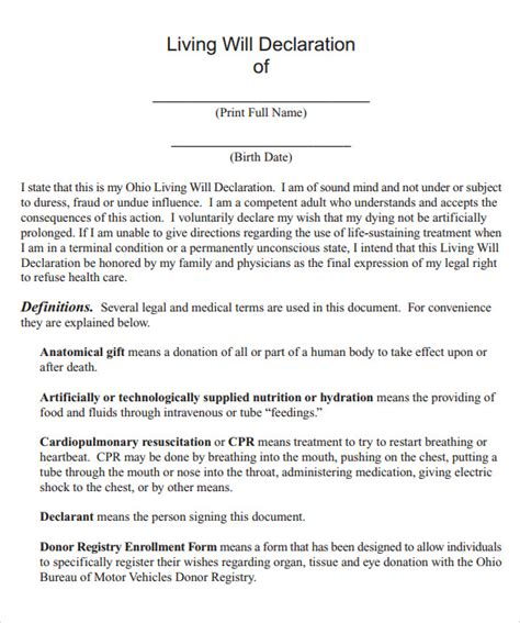 template for will sle living will 7 documents in pdf word