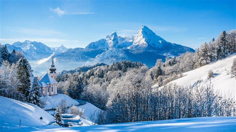 nienhagen wood alemanha wallpaper bavarian alps winter landscape church germany