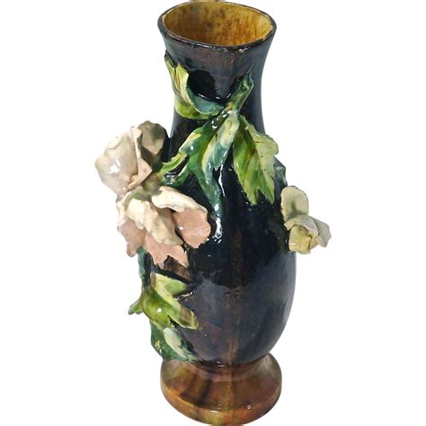 Majolica Vases Antiques by Floral Antique Majolica Vase Sold On Ruby