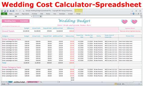 Wedding Cost Spreadsheet by Wedding Costs Calculator Excel Wedding Expenses Worksheet