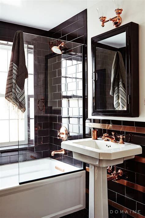 copper tiles bathroom sleek bathroom featuring black subway tiles and copper