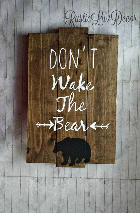 bear themed home decor dont wake the bear rustic wood sign woodland nursery and