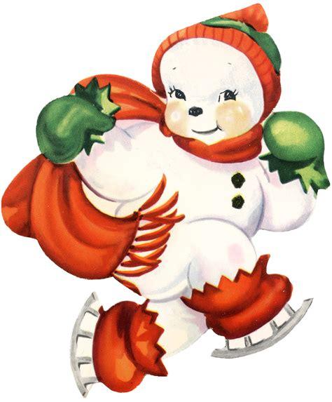 imagenes nieve vintage cute snowman image retro the graphics fairy