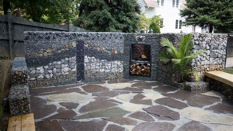 recycled concrete landscape rustic with gabion wall white