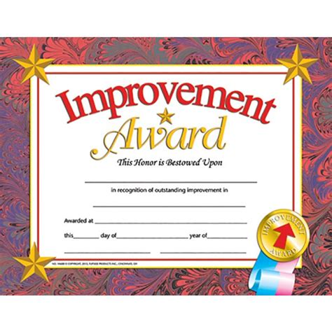 improvement award student certificate end of the school