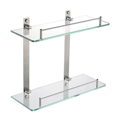 Kes Bathroom Lavatory Double Glass Shelf Wall Mount Glass Bathroom Shelving