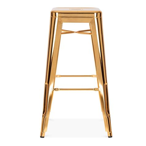 fashioned metal bar stools gold 75cm tolix style industrial stool cult furniture uk