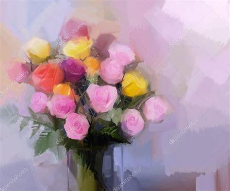 pittura fiori natura morta un mazzo di fiori pittura a olio fiori rosa