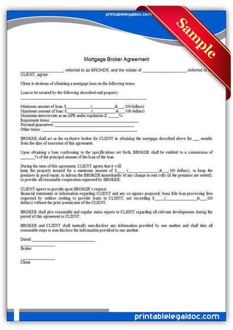 brokerage agreement template free printable mortgage broker agreement form generic
