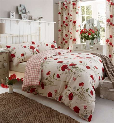 floral poppy duvet cover or eyelet curtains bedding set
