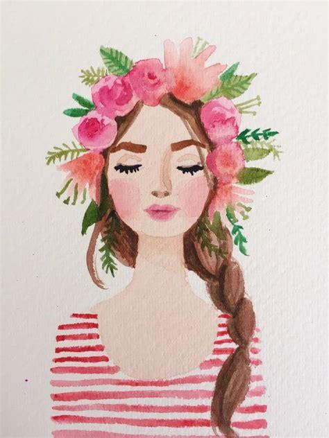 watercolor woman tutorial flower crown watercolor girl blumenm 228 dchen aquarell
